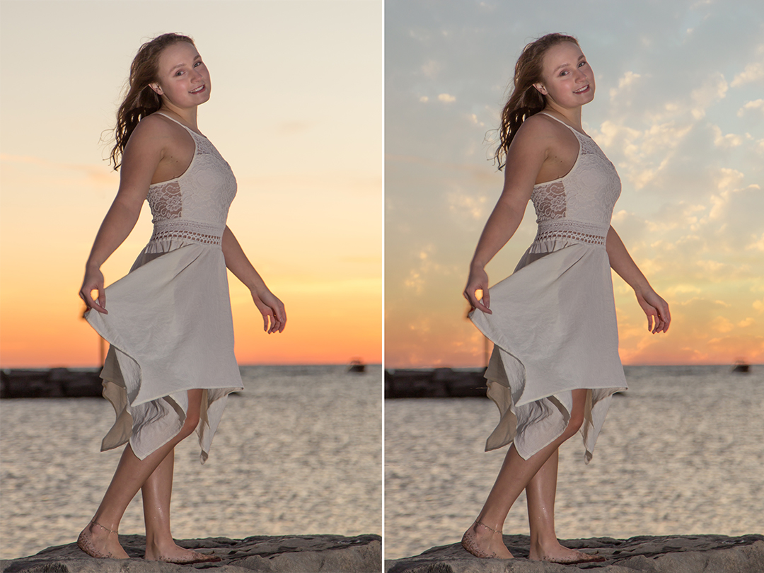 Before and after adding clouds to the sunset portrait.