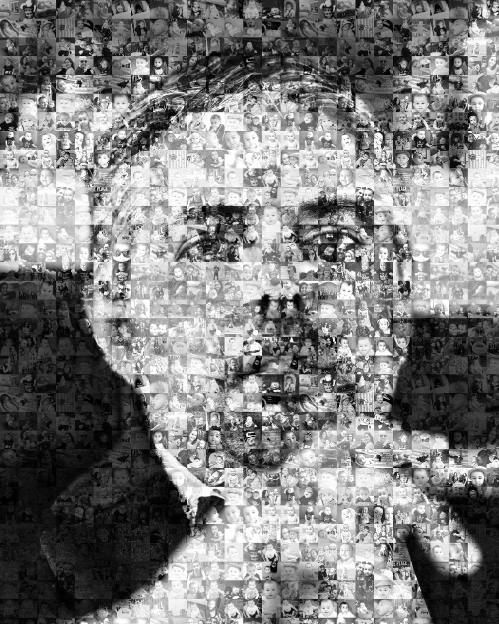 The phot mosaic I created with hundreds of images of my godson.