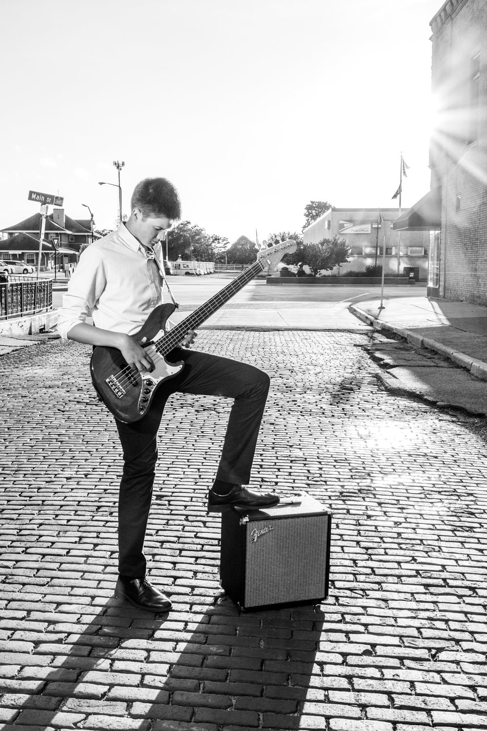 Playing bass in the street