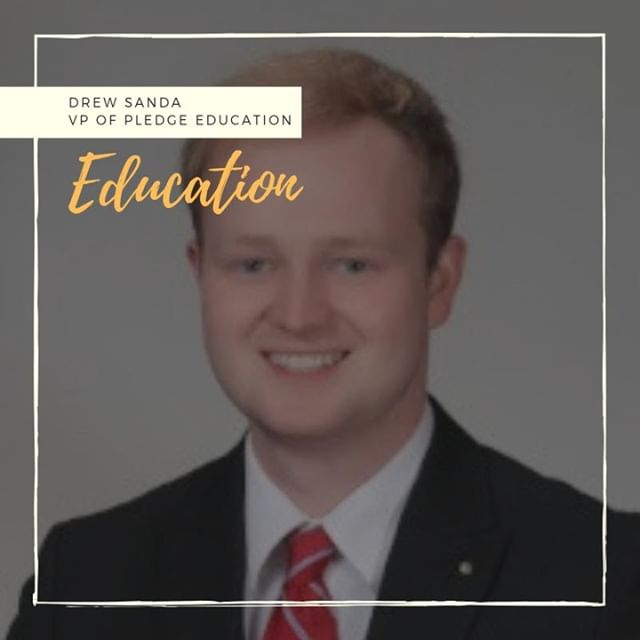 "Happy #MemberMonday to our Vice President of Pledge Education - Drew Sanda. One member said about Drew, ""he always has a joke or funny comment to make the whole room laugh."" Thanks for all your hard work this semester!"