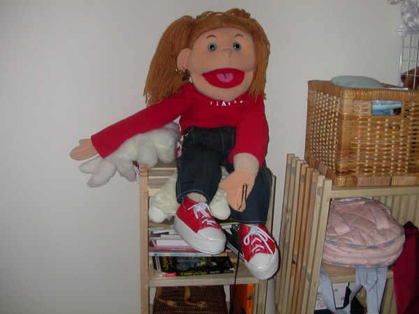 "The ""rod"" puppet I bought online the night I saw AVENUE Q on Broadway. I practiced puppeteering instead of having a baby."