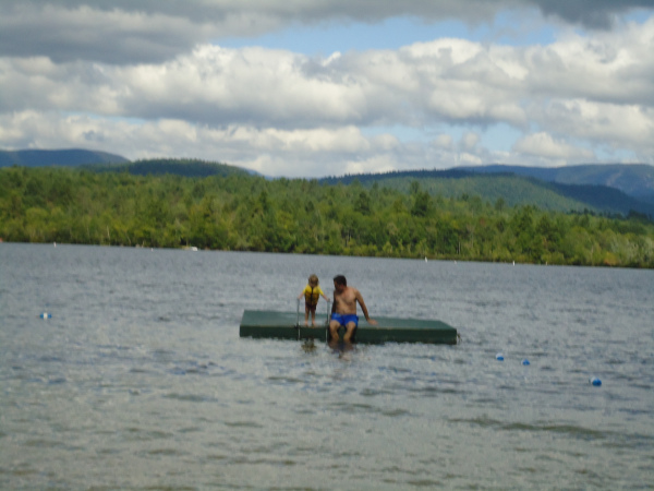 Beatrix and Rob in Lake Kezar at Quisisana Resort in Maine. If you look really closely you might see Stephen King, who also has a house on this lake. Also, probably swimming underwater with her snorkel gear, might be Dr. Dan's wife, Therapist Jean.