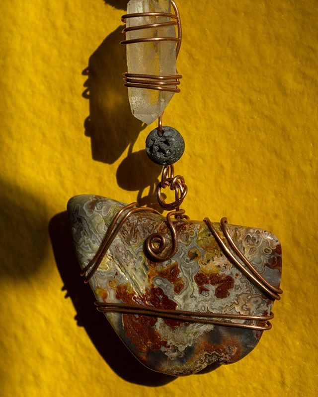 Two new pieces for sale:  Crazy Lace Agate and Brazilian Quartz necklace and Tiny Brazilian Quartz Earrings