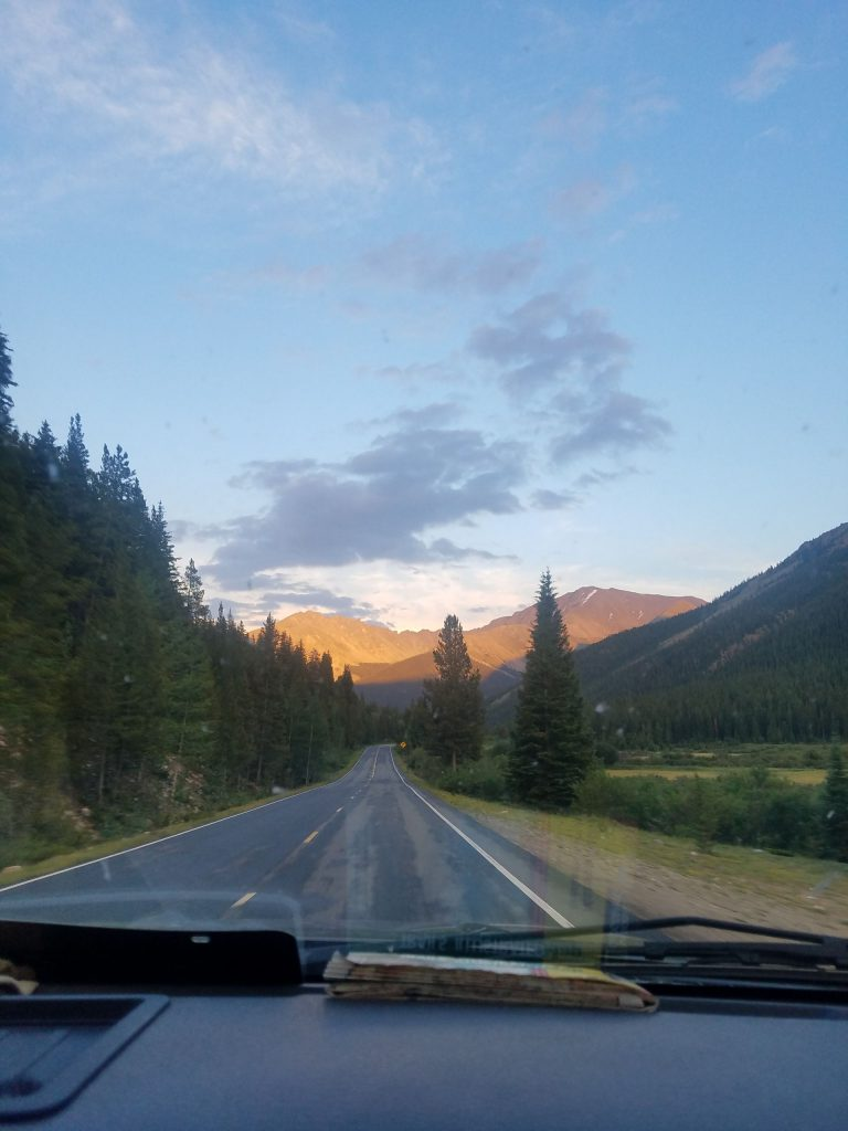 Driving towards Independence Pass on the way to the Maroon Bells-Snowmass Wilderness