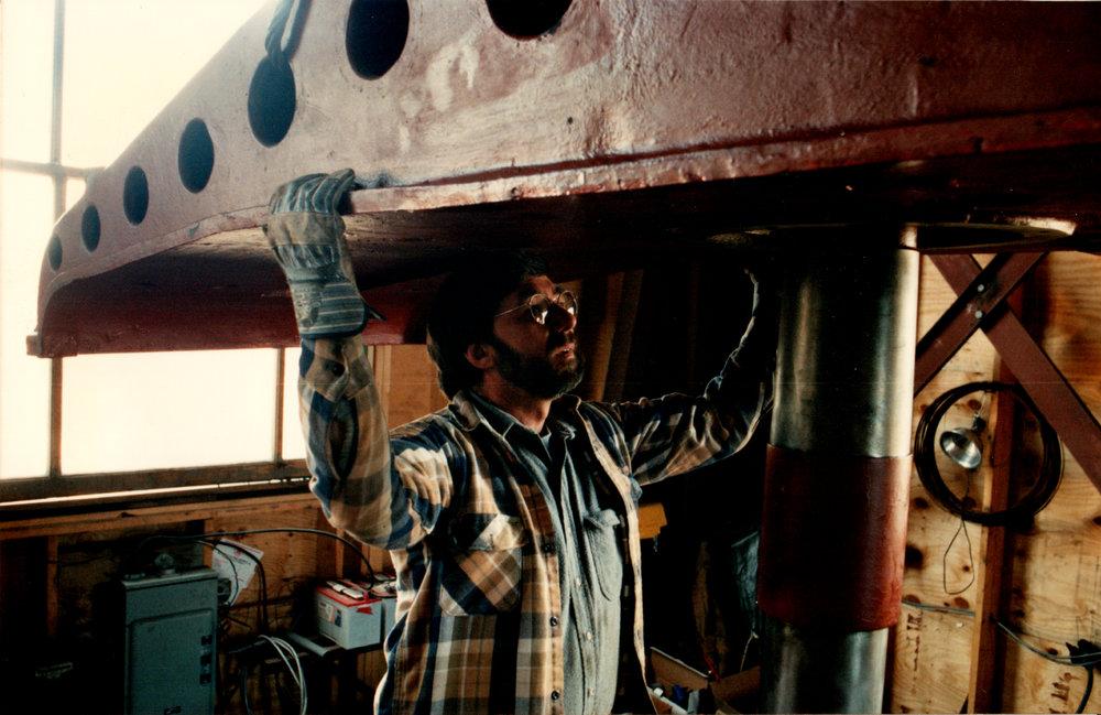 "Matt assembling the ""big machine"" in 1993"