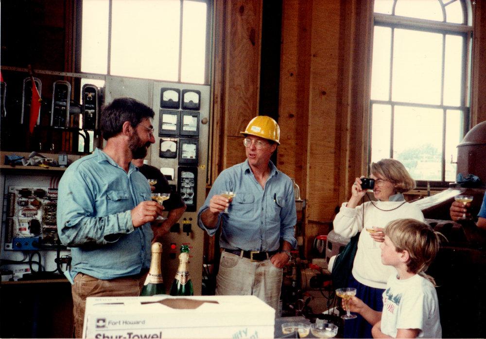 Matt, Everett, Martha and Emmett toasting bringing the plant online in 1993