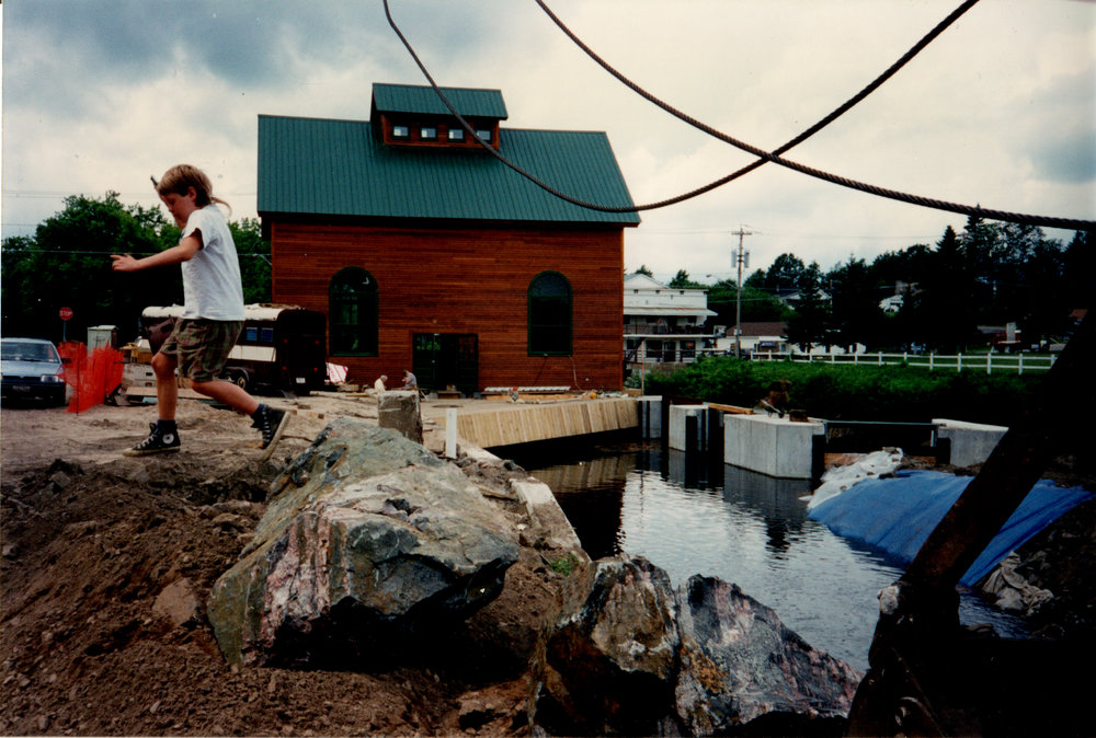 Emmett at the construction site of Azure Mountain Power in 1993