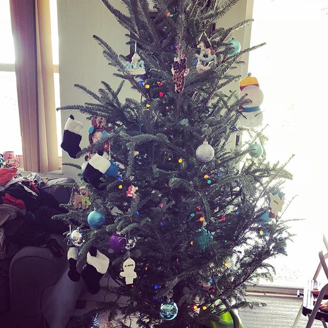 This is what happens when you let your 5 year old decorate the Christmas tree. . . . . #momlife #momsquad #christmastree #HappyHolidays