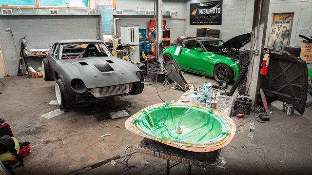 If you want to learn the process of making carbon fiber flares and visually see how it's done make sure to check out our latest video. @industrygarage shows you the steps he takes while having a good time in the process. #240z #carbonfiber #science