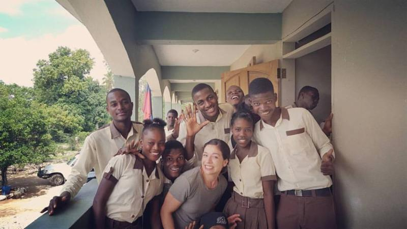 Ana with Haitian Friends