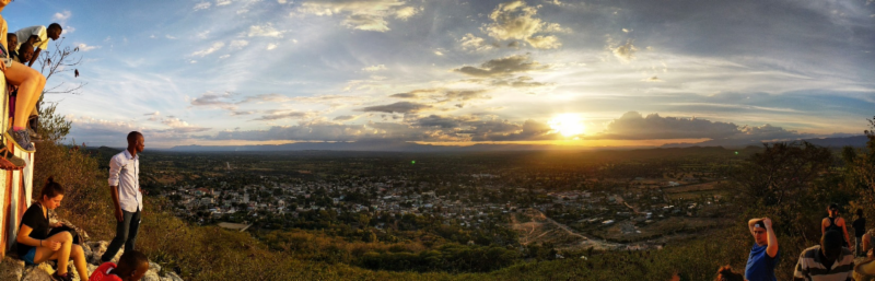On New Year's Day, members of the Medical School Mission Team and a number of St. Gabriel's students climbed Mt. Pignon to watch the sunset over Pignon.