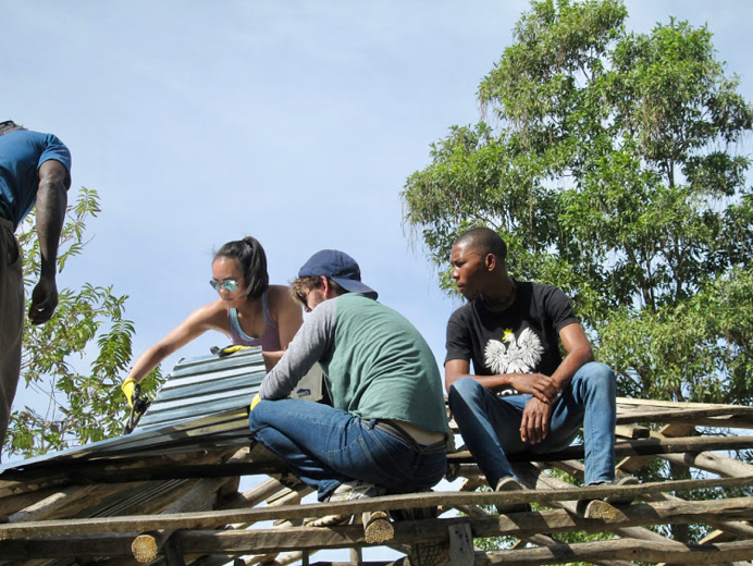 Got to see and experience how locals build their roofs (with John and Hernz, a St. Gabriel's student).