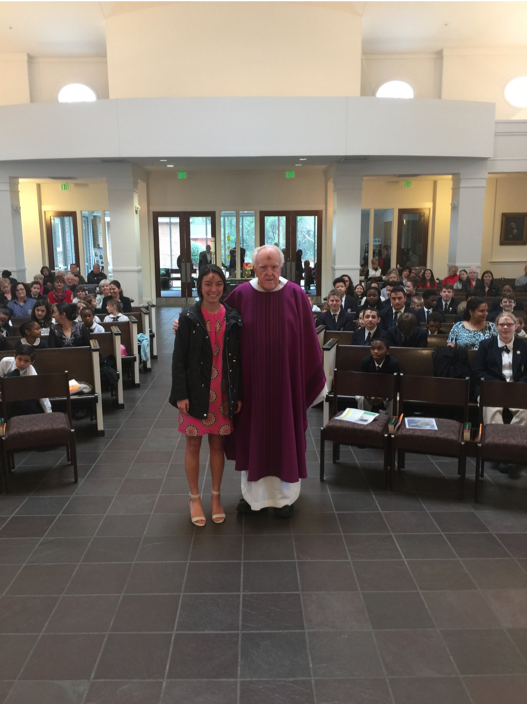 Maya came to the Ash Wednesday Mass for the students at St. Patrick's School where she spoke about her decision to embark on a service mission to Haiti. The school's Beta Club recently began sponsoring a student at St. Gabriel's School.