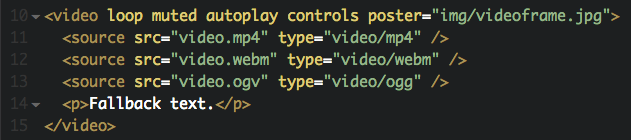 Typical HTML5 video implementation
