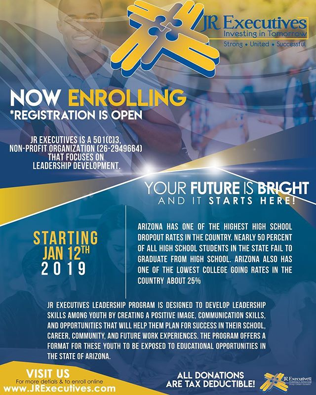 JR Executives Youth Leadership 2019 Open Enrollment is now available.  We are seeking all youth grades 9th to 12th. First session will be January 12, 2019. Visit www.jrexecutives.com to enroll and for more information. Let's Invest in OUR Youth.