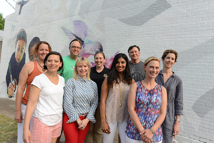 Belhaven Heights Mural Project Partners: | Back row: Laurel Isbister, Sam Lane, Andrea Falcetto, Doug Pyron | Front row: Jennifer Welch, Lolly Rash, Jasmine Singh Sandhu, Casey Creasey, Beth Batton