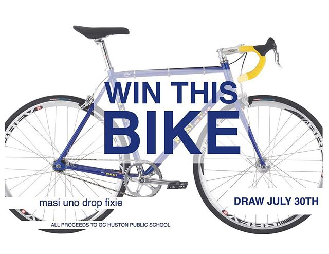 Can't race this weekend but still want to support the cause?  Buy some raffle tickets and win this limited Masi Uno Drop in a 56cm and better yet.. the Huston Hawk colours!  Tickets available at Martin's and at the race.. the draw is this Sunday at the awards ceremony.. all proceeds to GC Huston public school! #hustonhawks