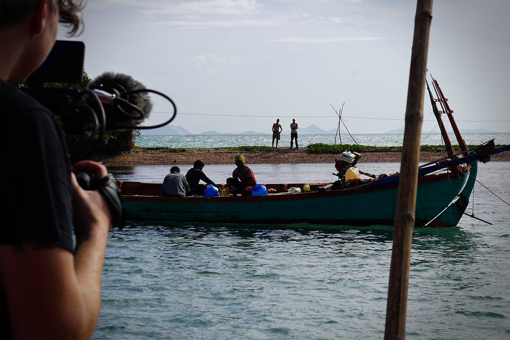 Director, Christopher Smith, on location in Cambodia filming feature documentary, Current Sea.