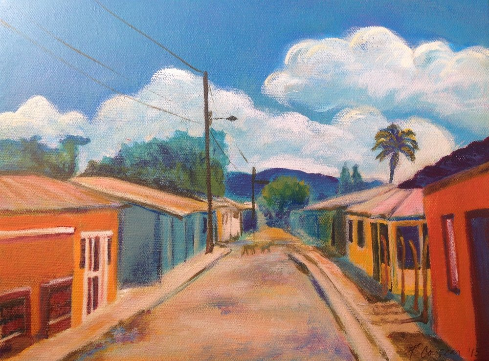 Here's the exact street where we're headed, in Batey Isabela, Republica Dominicana. (Painting by Pam, commissioned by Natalie, based on one of her photos)