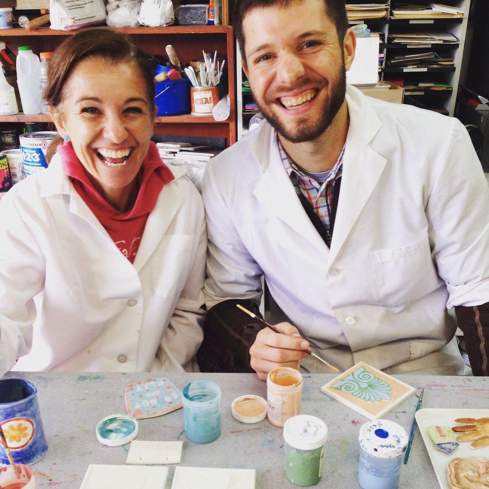 Josh:Marie painting ceramics.JPG