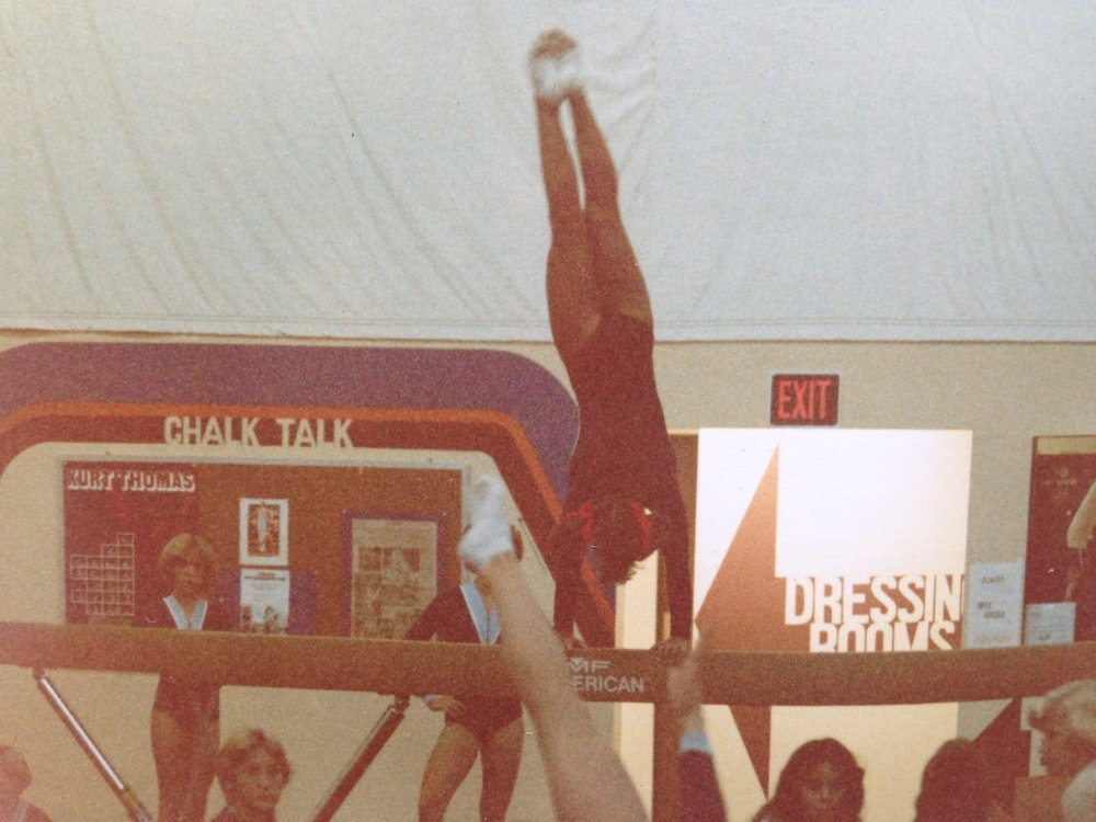 That's 13 year-old me on the balance beam in 1978.           (photo credit? no idea)