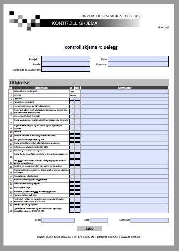 Kontroll skjema 4  Belegg