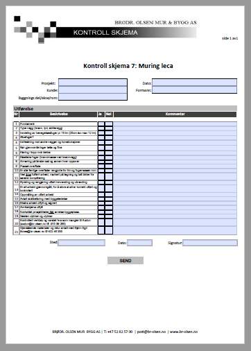 Kontroll skjema 7  Muring Leca