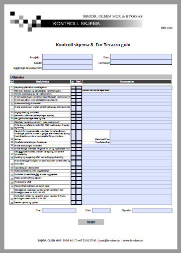 Kontroll skjema 8  Terazzo