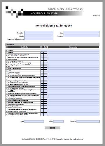 Kontroll skjema 11  Epoxy