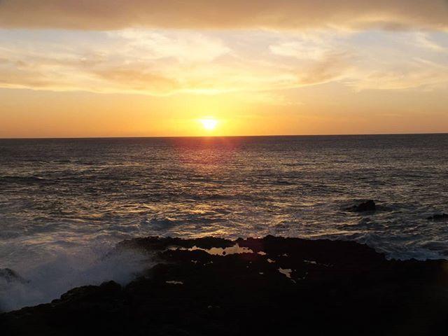 Sunset, saltpans and lighthouse on La Palma, Canary Islands