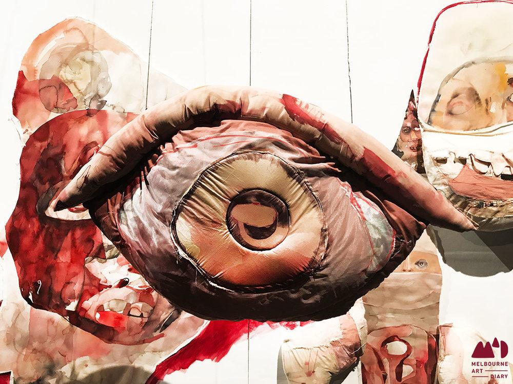 Ruth Marbun -  One is a Million , 2018, watercolour, 300gsm cotton paper, cotton fabric, polyester fabric, dacron fibre, 100 x 500 cm