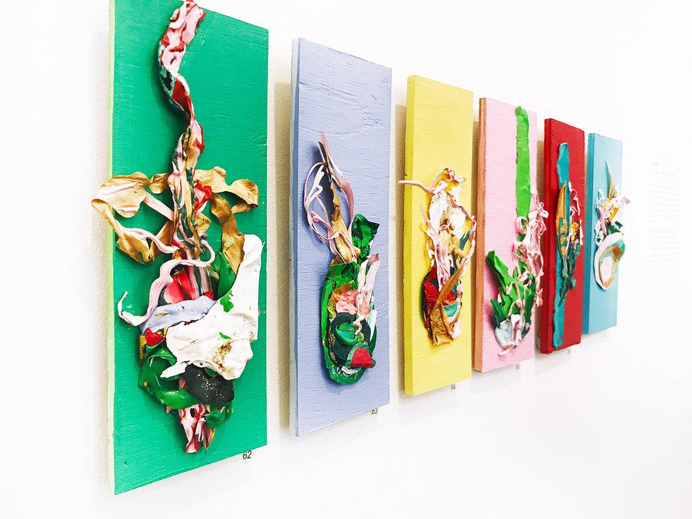 Andrea Hughes,  Still Life 1-6 , Mixed media on wood, 27 x 10 cm