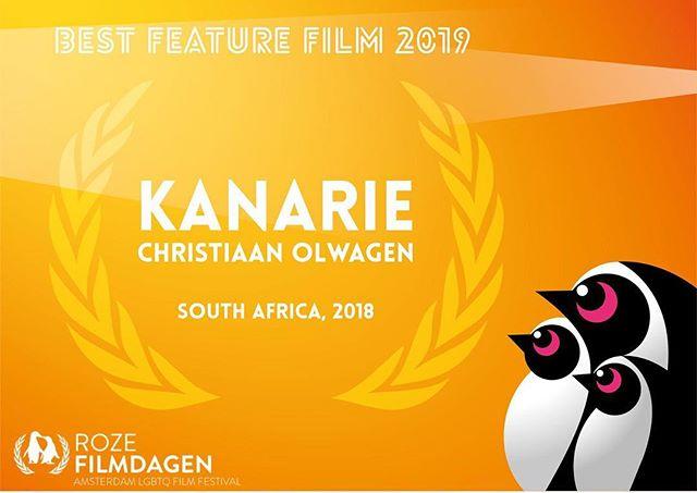#TeamKanarie and @christiaan_olwagen won the Jury Award for Best Feature film at the 22nd @roze_filmdagen filmfest in Amsterdam last night.  CONGRATULATIONS!  #VliegKanarie #ProudlySA #SAFilm #SouthAfrica #localislekker @marchemedia @charljohanlingenfelder @film_doctor @jaco_n @thejacosmit @ruleofstorm @kyknettv @schalkiebez @hannes_otto @germandt.g