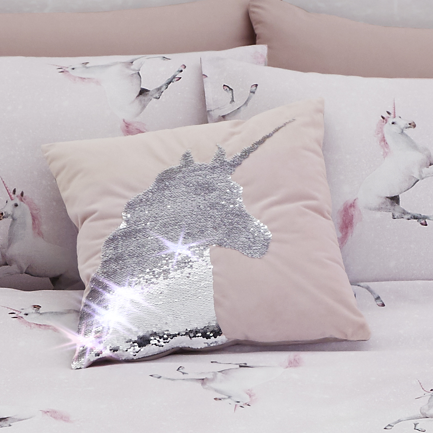 SEQUIN UNICORN CUSHION COVER