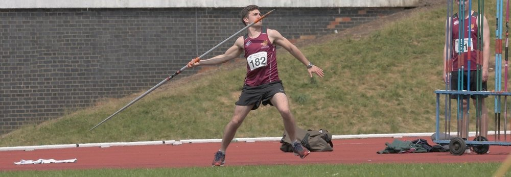 Club record holder Tom Pownall throws the javelin at the 2018 open meet