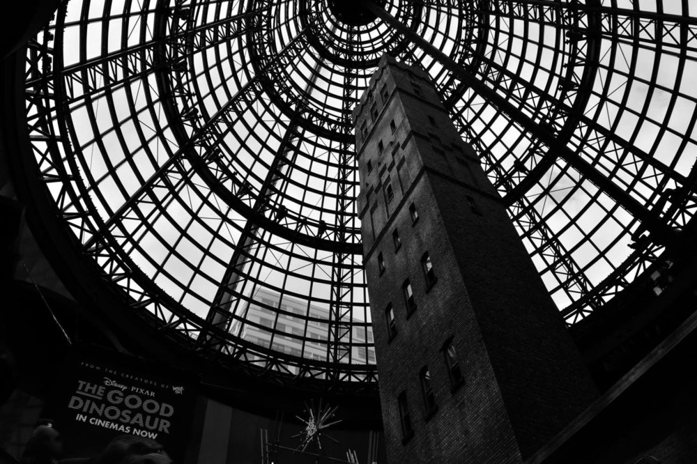 Coop's Shot Tower, encased by the Melbourne Central Cone