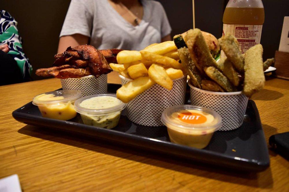 Trio Platter - Zucchini fries, sweet potato fries and regular fries.