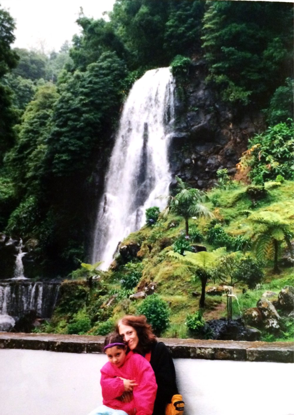Alma and me at a waterfall in Azores, Summer 2002.
