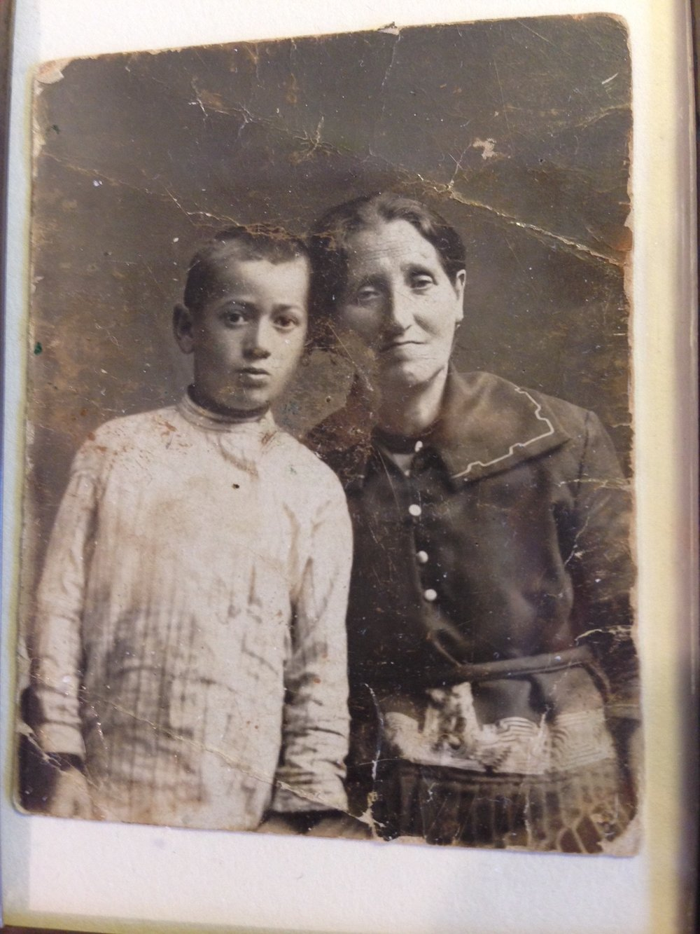 My father with his mother.