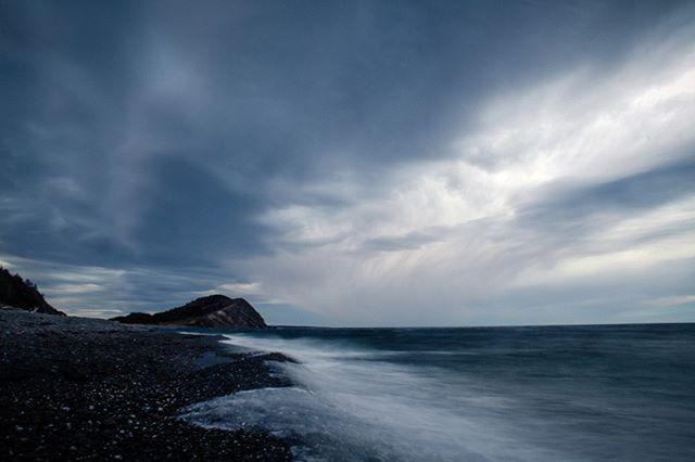 This is one of my first landscape images. It's not even sharp, because it was extremely stormy and the tripod was shaking too much. But I find it has a bit of a watercolour painting feel to it and I love the crazy cloud formations in it so I though I'd share it with you. . . . . . . #stormydays #capebreton
