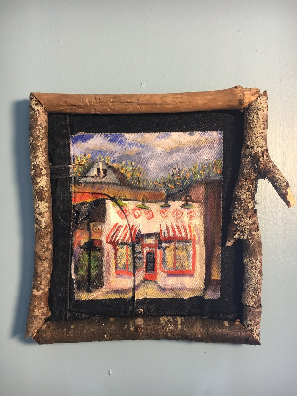 Small Original Oil Painting of Big Fun Coventry (Cleveland Heights, OH) Toy Store in Rustic Wood Frame Using Birch Bark
