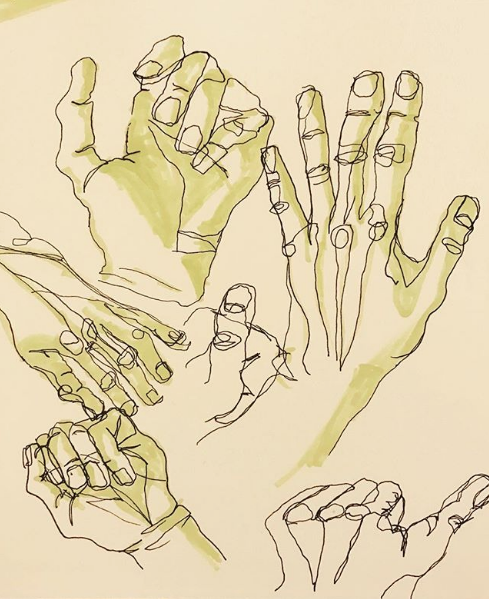 Blind contour sketches of hands