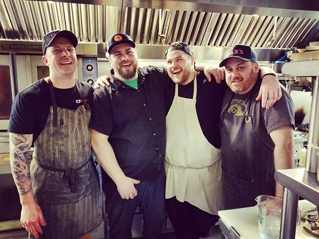 Friends step up and help you out when you are up against it.  Huge thanks to Chef Andrew Aho for spending the weekend with us.  We look forward to your next project here in town!  Cheers and welcome home! #FinallyGotAnApron #AreThereMoreTotsWorking #Mise #EverydayEating  #MaxsEatery
