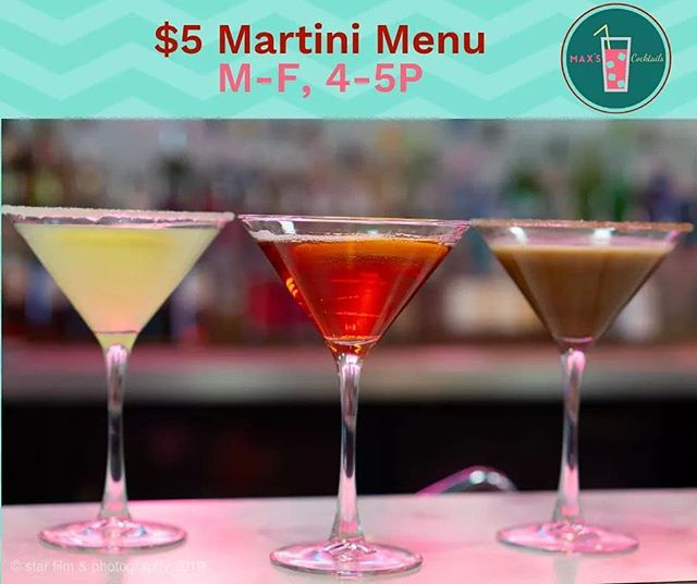 Lemon Drop, Pomegranate, and Chocolate- the three flavored Martinis on the Martini Meeting Menu.  But don't forget our friends Gin and Vodka Martini- always welcome at the meeting!  M-F, 4-5P $5 Martini Meeting Menu.