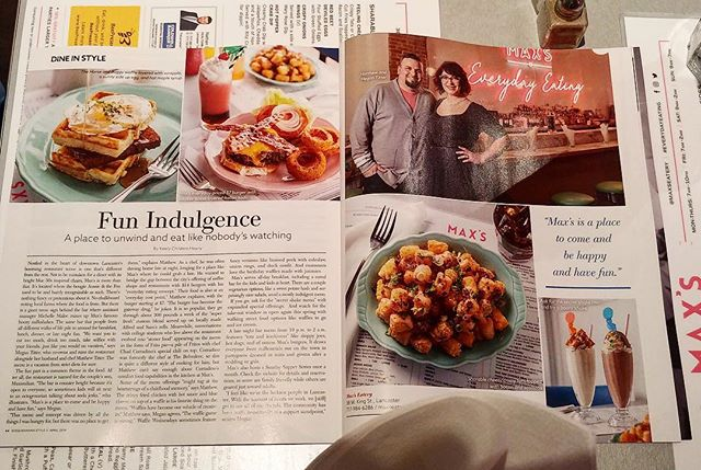 Thank you @susquehannastyle for the story in the latest issue!! #LancasterPA #MaxsEatery #EverydayEating #ComfortFood #ModernDiner #Diner #SwagFoodPhilly #EaterPhilly