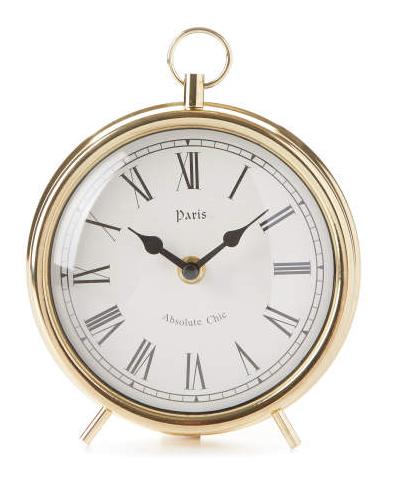 Gold Metal Tabletop Clock -