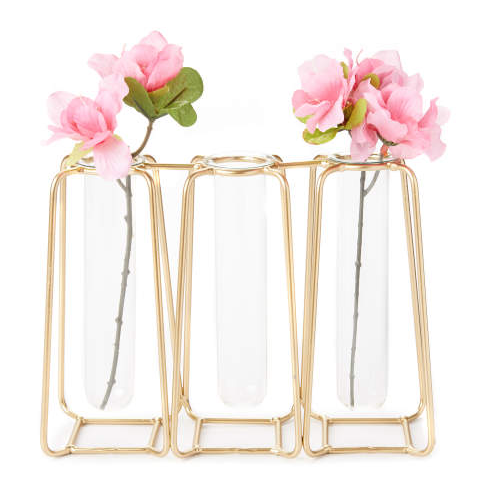 Gold Metal & Glass 3-Section Test Tube Bud Vase -