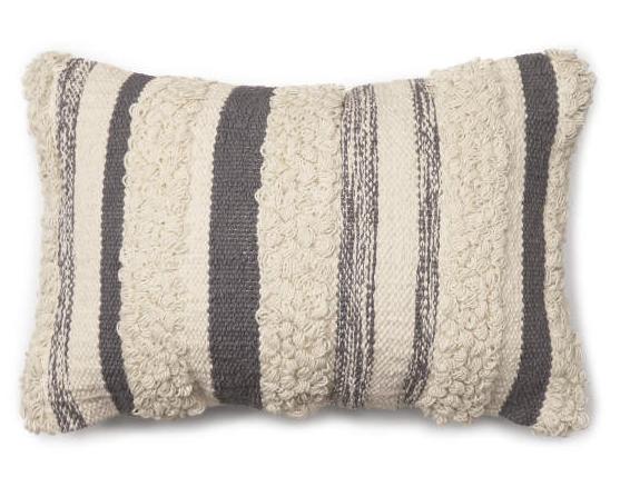 Bria Gray Stripe Throw Pillow (13X18) -
