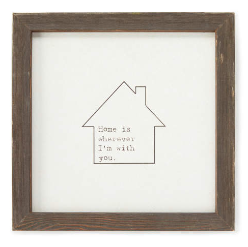 """Home Is"" Home Icon Framed Wall Plaque -"