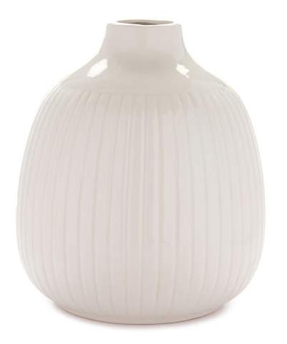 Cream Ribbed Ceramic Vase -